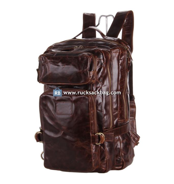 Leather Backpack Color Dark Brown
