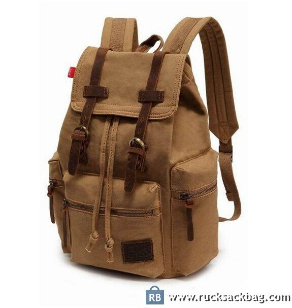 Canvas Leather Backpack Rucksack Bookbag Hiking Bag - Rucksack Bag 90069c880c84