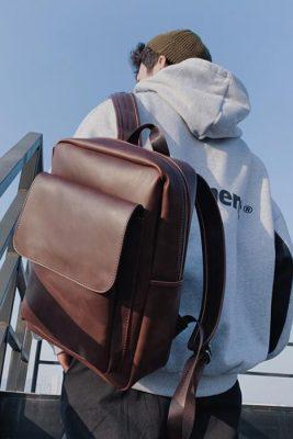 leather laptop backpacks for men